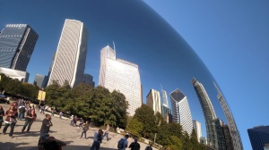 "Reflection of the city from ""The Bean"" at Millennium Park."